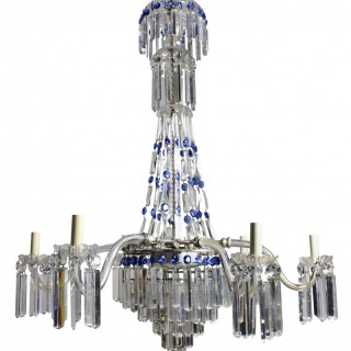 A FINE ENGLISH CUT GLASS TENT & WATERFALL CHANDELIER WITH BLUE GLASS