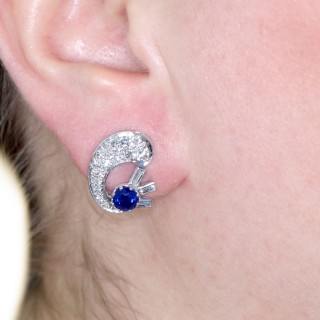 1.04ct Sapphire and 1.75ct Diamond, 18ct White Gold Clip On Earrings - Antique Circa 1935