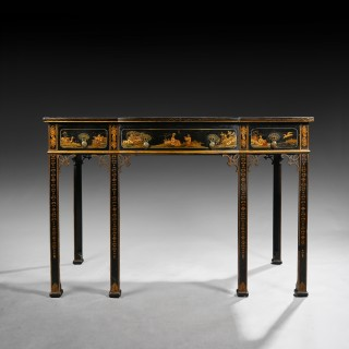 Early 20th C Black Lacquered Chinoiserie Writing Table