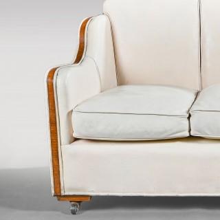Art Deco Walnut Epstein Leather Three Seater Sofa