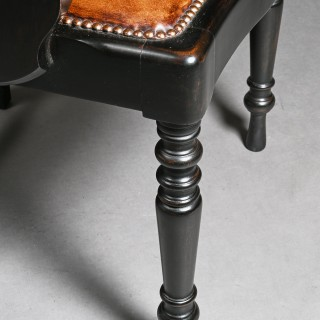 Edwardian Ebonised and Leather Barbers Armchair