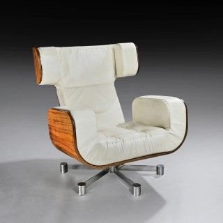 Italian 1970's Leather and Zebrano Lounge Armchair On Aluminium Base
