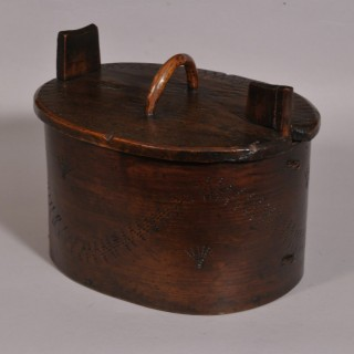 Antique Treen 19th Century Swedish Bentwood Food Box