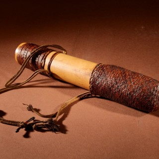 An Interesting Tribal Borneo Blowpipe Quiver And Blowpipe Including Ten Darts.