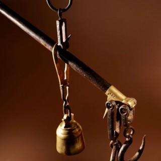 A Very Decorative Hardwood, Wrought Iron and Brass Stick Balance.