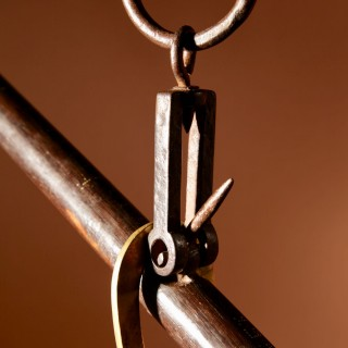 A Very Decorative Hardwood, Wrought Iron and Brass Stick Balance.