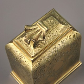 Robert Garrard I. George III Silver Gilt Tea Caddy. London 1815.