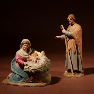An Important And Very Interesting Wood Carved Sculpture Christmas Nativity Scene.