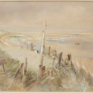 Original golf watercolour brancaster golf club, view from the 10th tee.