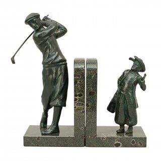 Bronzed Golf Bookends, the Golfer & His Caddie on Marble Base