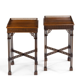 A pair of mahogany side tables in the Chippendale style