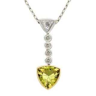 2.65ct Green Sapphire and 1.30ct Diamond, 18ct White Gold Pendant - Vintage Circa 1990