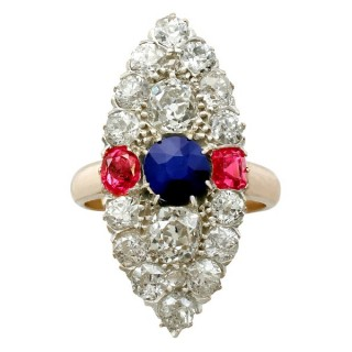 4.34ct Diamond and 1.26ct Sapphire, 0.85ct Ruby and 17ct Yellow Gold Marquise Ring - Antique Victorian