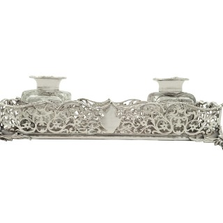Antique Early Victorian Sterling Silver Double Inkstand 1848