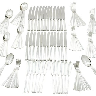 Sterling Silver Canteen of Cutlery for Twelve Persons - Art Deco Style