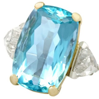 25.23ct Aquamarine and 3.40ct Diamond Platinum Dress Ring - Vintage Circa 1950