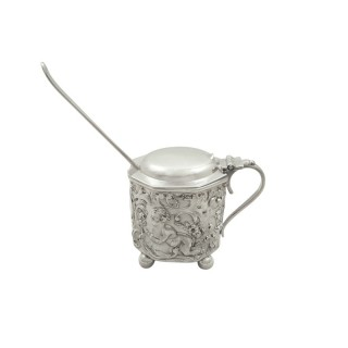Antique Victorian Sterling Silver 'Cherub' Mustard Pot 1897