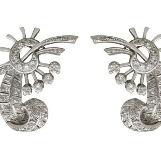 3.63ct Diamond and Platinum, 18ct White Gold Clip On Earrings - Vintage Circa 1940