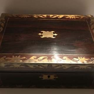 Rosewood and Brass Writing Box