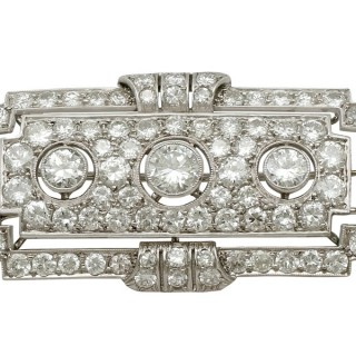 6.82ct Diamond and Platinum Brooch - Art Deco - Antique Circa 1930