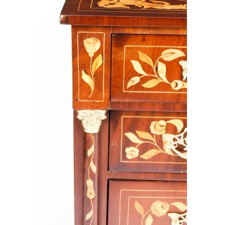 Antique Dutch Marquetry Figured Mahogany Chest of Drawers c.1850 19th C