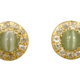 2.26ct Chrysoberyl and 0.72ct Diamond, 18ct Yellow Gold Stud Earrings - Antique Circa 1870