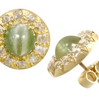 2.26ct Chrysoberyl and 0.72ct Diamond, 18ct Yellow Gold Stud Earrings - Antique Circa 1870