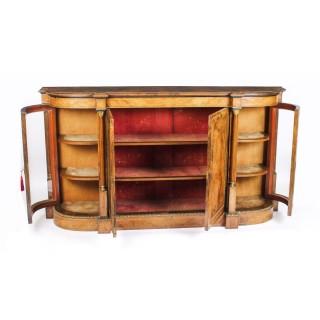 Antique Victorian Burr Walnut Inlaid Credenza Side Cabinet c.1860