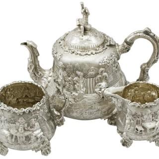 Sterling Silver Three Piece Tea Service - Antique Victorian (1883)