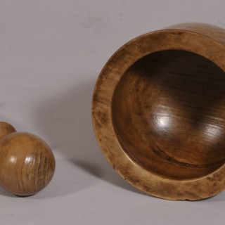 Antique Treen Walnut Apothecary's Pestle and Mortar