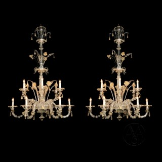 Venetian Clear Glass Twelve-Light Chandeliers