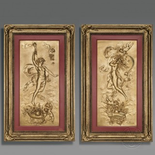 Pair of Gilt Bronze Repousse Plaques Depicting Apollo and Selene as Allegories of Day and Night By Karl Sterrer, Cast by the Kalmar Foundry
