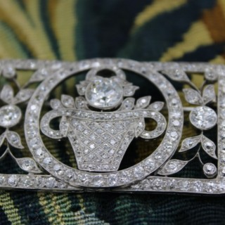 A very fine Platinum Art Deco Diamond Floral Jardinieré Plaque Brooch, Circa 1925