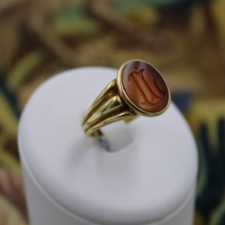 A fine 18 carat Yellow Gold Carnelian  Intaglio ring  with Original French marks, circa 1890