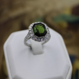A very fine Platinum (tested)  Green Tourmaline (5.34 carats) and Diamond Cluster Ring