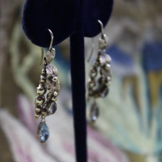 A very fine pair of High Carat Yellow Gold (tested) Aquamarine drop Earrings  Circa 1830