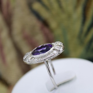 A very fine Platinum Amethyst & Diamond Art Deco Plaque Ring, Circa 1930