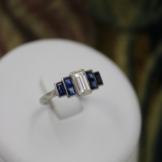 A very beautiful 0.75 Carat Diamond and Sapphire Art Deco Ring, Circa 1925.