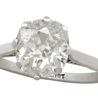 2.20ct Diamond and 18ct White Gold Solitaire Ring - Antique Circa 1900