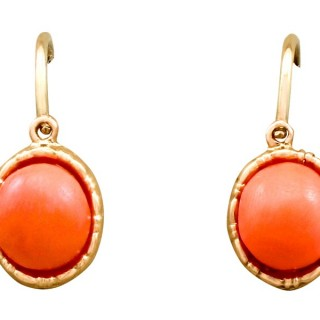 Pink Coral and 14ct Yellow Gold Drop Earrings - Antique Circa 1910