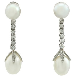 Natural Pearl and 0.36 ct Diamond, Platinum Drop Earrings - Antique Circa 1910