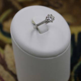 A fine 18 Carat White gold (marked) Asprey (marked) Diamond Solitaire ring. C.1980