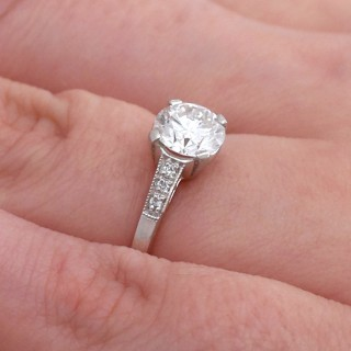 0.96 ct Diamond and Platinum Solitaire Ring - Vintage Circa 1940 and Contemporary