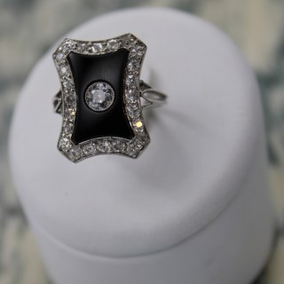 A fine black Onyx & Diamond  Platinum (tested)  Art Deco Plaque Ring.