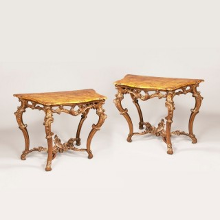 A Fine Pair of Genoese Console Tables in the Rococo Manner