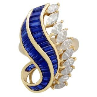 2.73ct Sapphire and 2.97ct Diamond, 18ct Yellow Gold Dress Ring - Vintage Circa 1980