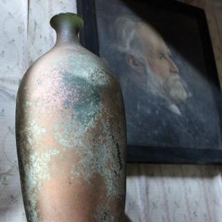 A Vintage Iridescent Green Glass Vase c.1960