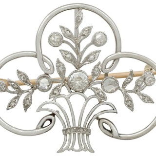 0.74ct Diamond and Platinum Brooch - Antique French Circa 1910