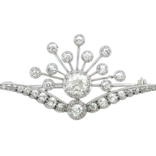 3.87 ct Diamond and 9 ct White Gold Brooch - Antique Victorian