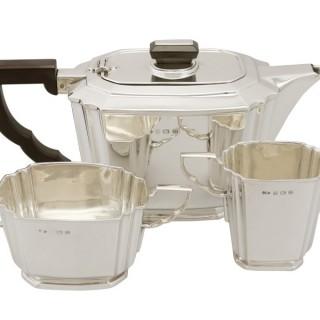 Sterling Silver Three Piece Tea Service - Art Deco - Antique Edward VIII (1936)